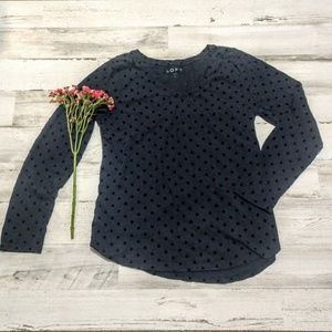 LOFT Navy and Black Velvet Dot Top